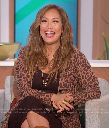 Carrie's leopard print cardigan on The Talk