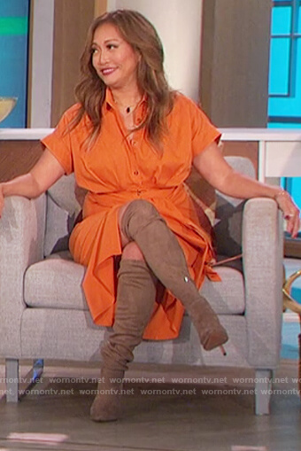 Carrie's orange tie waist shirtdress on The Talk