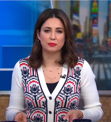 Cecilia's white floral cardigan on Good Morning America
