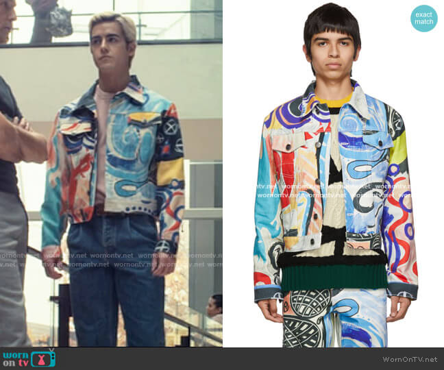 Charles Jeffrey Loverboy Denim Art Jacket worn by Shane (Brennan Clost) on Tiny Pretty Things