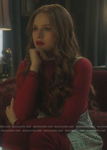 Cheryl's red zig-zag trim sweater on Riverdale