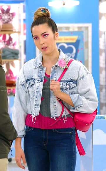 Cheyenne's cropped denim jacket on Superstore