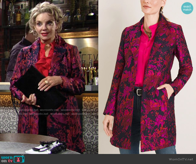 Chicos Floral Jacquard Topper worn by Gloria Abbott Bardwell (Judith Chapman) on The Young & the Restless