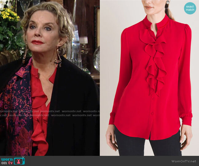 Chicos Ruffle Front Blouse worn by Gloria Abbott Bardwell (Judith Chapman) on The Young & the Restless