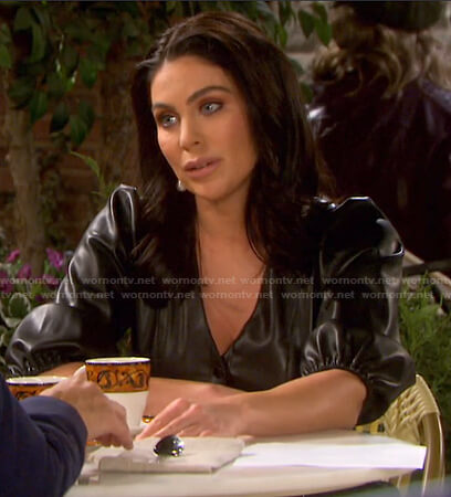 Chloe's black puff sleeve leather dress on Days of our Lives
