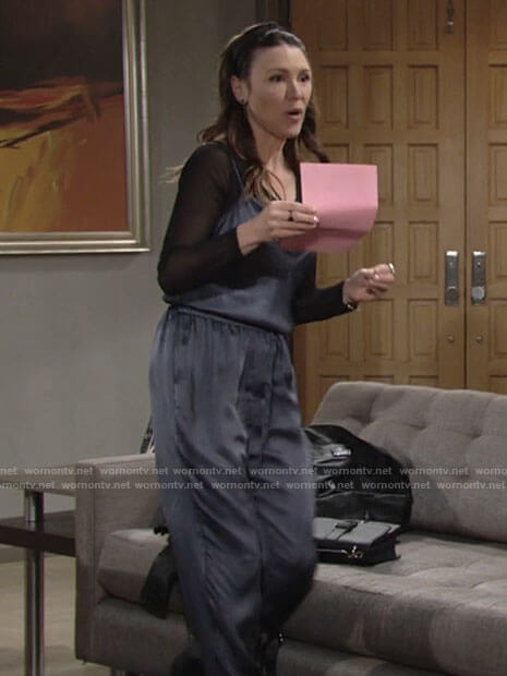 Chloe's grey satin jumpsuit on The Young and the Restless