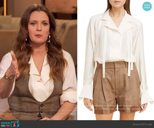 Double Tie Stripe Silk Jacquard Blouse by Chloe worn by Drew Barrymore  on The Drew Barrymore Show