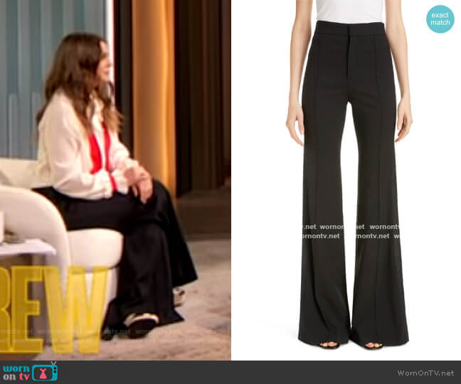 Side Stripe Pintucked Stretch Wool Flare Pants by Chloe worn by Drew Barrymore  on The Drew Barrymore Show