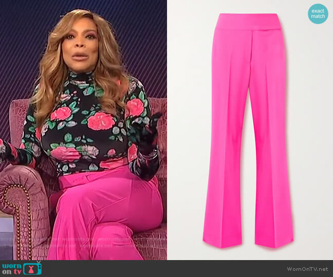 Neon wool-blend pants by Christopher John Rogers worn by Wendy Williams  on The Wendy Williams Show