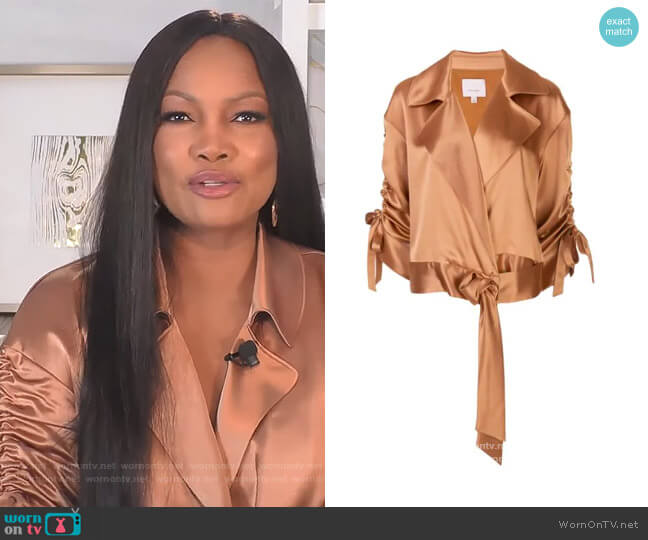 Aziza silk jacket by Cinq a Sept worn by Garcelle Beauvais  on The Real