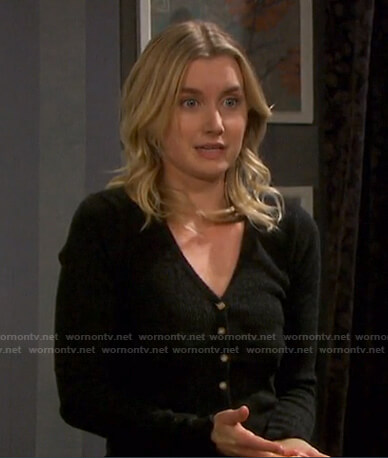 Claire's grey cardigan and plaid pants on Days of our Lives