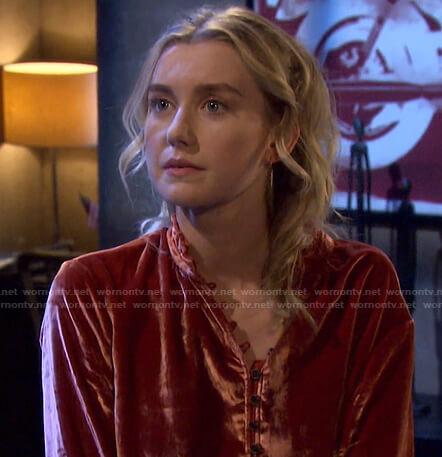 Claire's orange velvet blouse on Days of our Lives