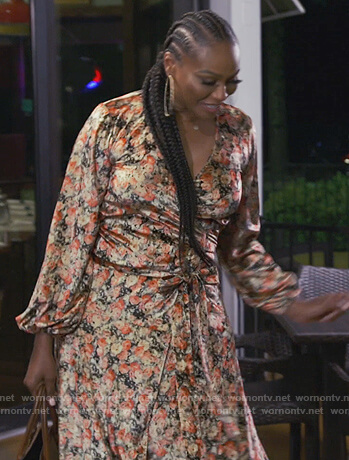 Cynthia's floral satin wrap dress on The Real Housewives of Atlanta