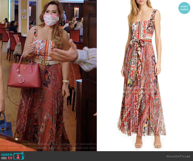 Deonna Pleated Tie Waist Maxi Dress by Alice + Olivia worn by D'Andra Simmons  on The Real Housewives of Dallas