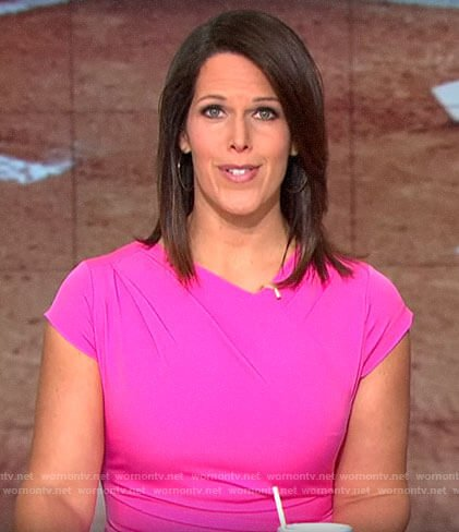 Dana Jacobson's pink cap sleeve dress on CBS This Morning