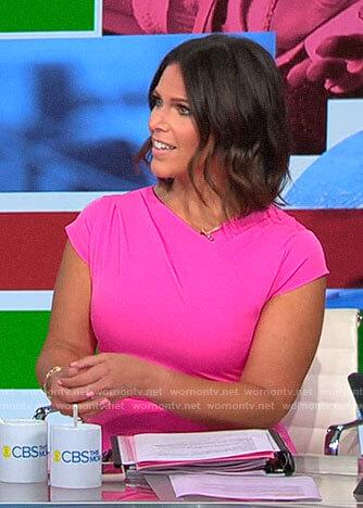 Dana Jacobson's pink cap sleeve dress on CBS This Morning