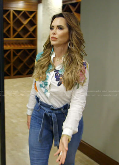 D'Andra's floral print blouse and jeans on The Real Housewives of Dallas