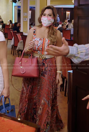D'Andra's printed pleated maxi dress on The Real Housewives of Dallas