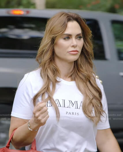 D'Andra's Balmain print tee on The Real Housewives of Dallas
