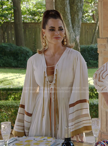 D'Andra's lace-up maxi dress on The Real Housewives of Dallas