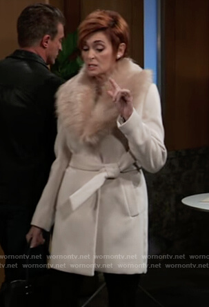 Diane's beige fur collar coat on General Hospital