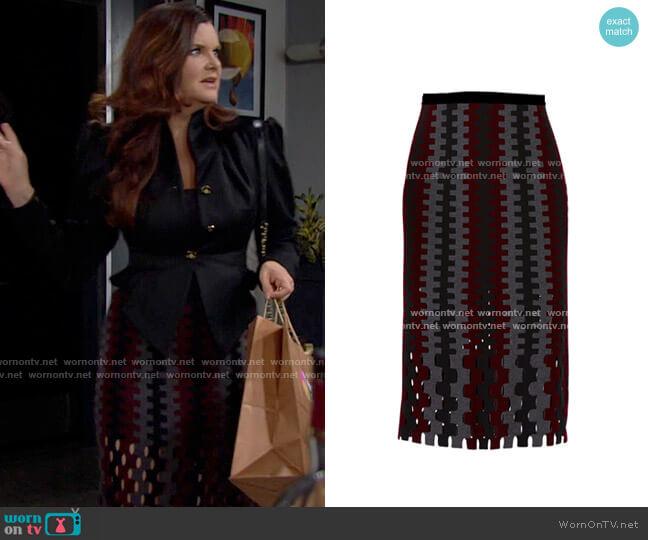 Diane von Furstenberg Intarsia Cutout Skirt worn by Katie Logan (Heather Tom) on The Bold & the Beautiful
