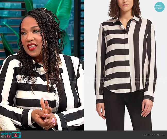Mixed-Stripe Blouse by DKNY worn by Kym Whitley  on E! News