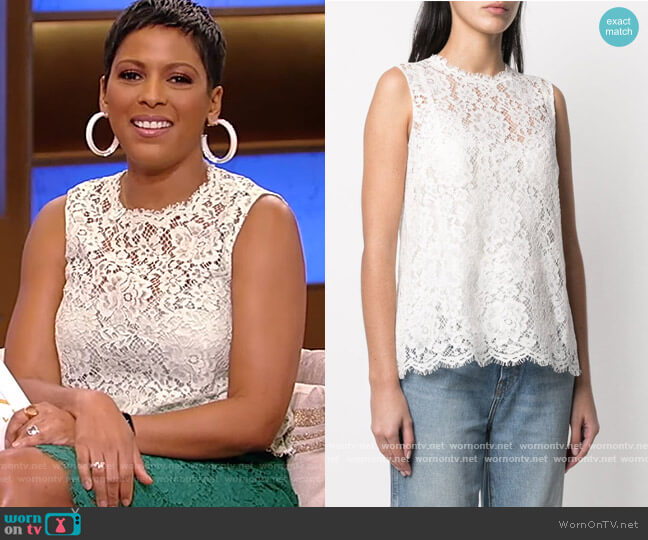 Lace Sleeveless Blouse by Dolce and Gabbana worn by Tamron Hall  on Tamron Hall Show