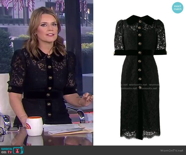 Collared Lace Midi Dress by Dolce & Gabbana worn by Savannah Guthrie  on Today