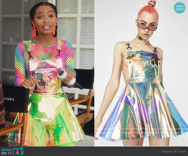 Space Gurl Hologram Overall Dress by Dolls Kill worn by Zoey Johnson (Yara Shahidi) on Grown-ish