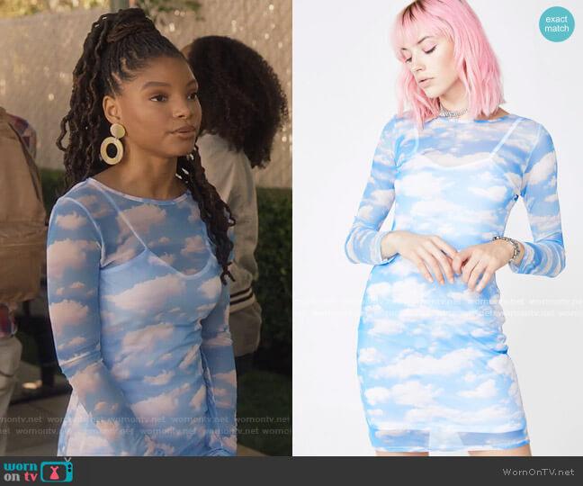 Cloud Print Mesh Dress by Dolls Kill worn by Skylar Forster (Halle Bailey) on Grown-ish