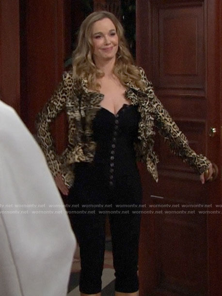 Donna's button front jumpsuit and leopard print jacket on The Bold and the Beautiful