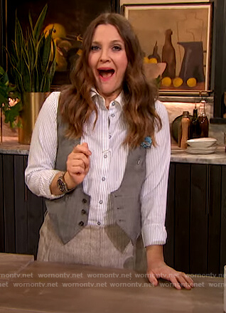 Drew's blue pinstripe shirt and pants on The Drew Barrymore Show