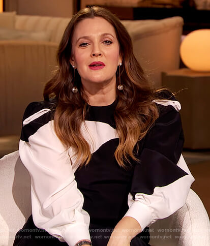 Drew's black and white puff sleeve blouse on The Drew Barrymore Show