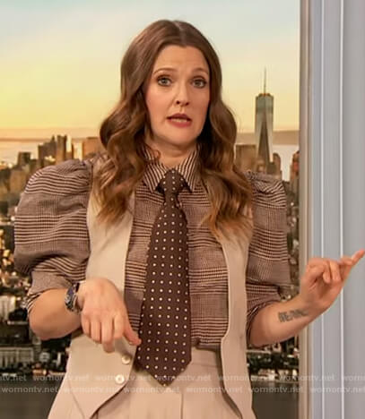 Drew's check puff sleeve blouse on The Drew Barrymore Show