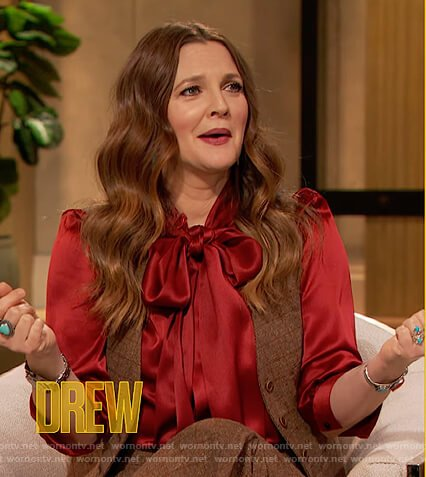 Drew's red satin tie neck blouse on The Drew Barrymore Show