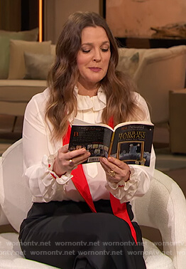 Drew's white ruffle blouse with scarf on The Drew Barrymore Show