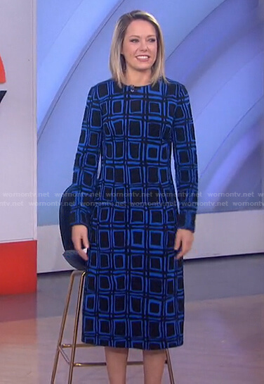 Dylan's black and blue geometric print dress on Today