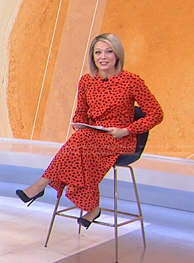 Dylan's orange polka dot midi dress on Today