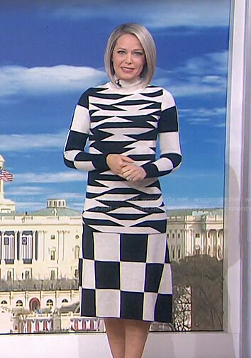 Dtlan's black and white abstract print knit dress on Today