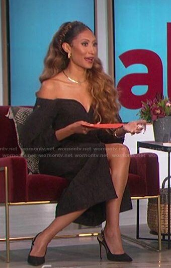 Elaine's black off-shoulder dress on The Talk