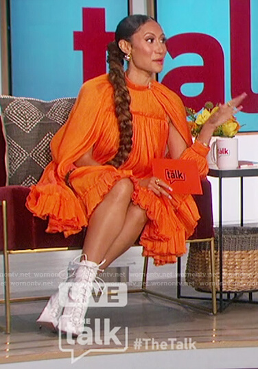 Elaine's orange silk mini dress on The Talk