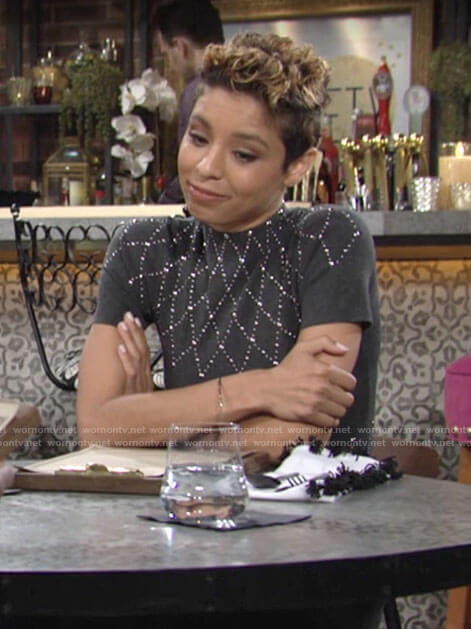 Elena's grey studded dress on The Young and the Restless