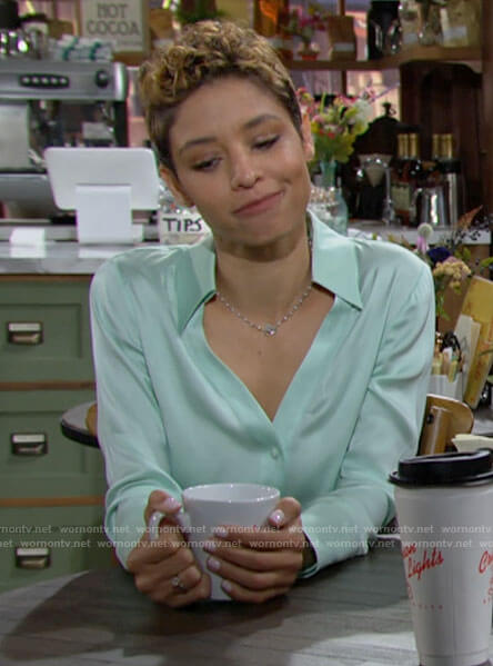 Elena's mint green button down top on The Young and the Restless