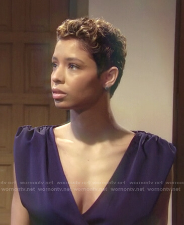 Elena's purple wrap dress on The Young and the Restless