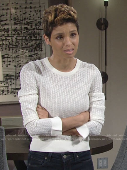 Elena's white pointelle sweater on The Young and the Restless