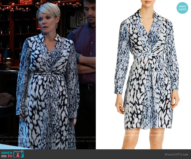Saxon Printed Shirt Dress by Elie Tahari worn by Ava Jerome (Maura West) on General Hospital