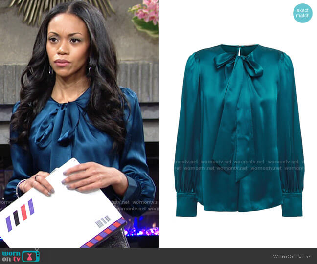 Elie Tahari Bali Blouse worn by Amanda Sinclair (Mishael Morgan) on The Young & the Restless