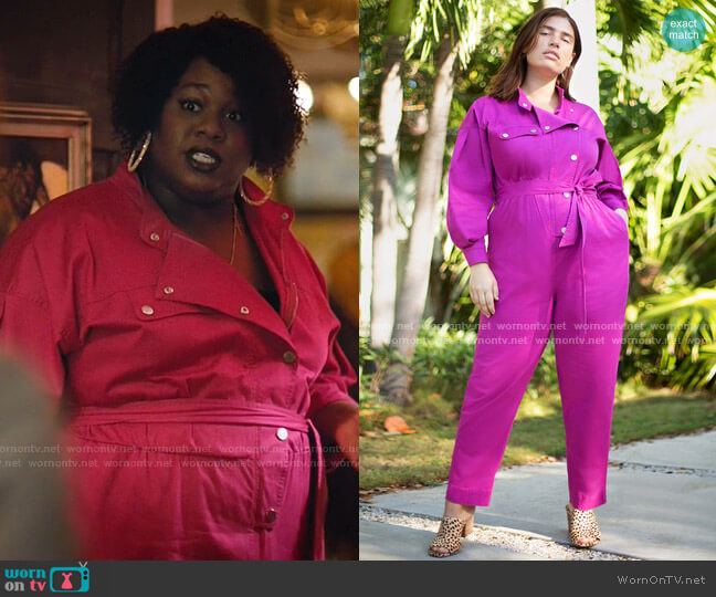 Denim Boiler Suit with Roll Cuff by Eloquii worn by Mo (Alex Newell) on Zoeys Extraordinary Playlist