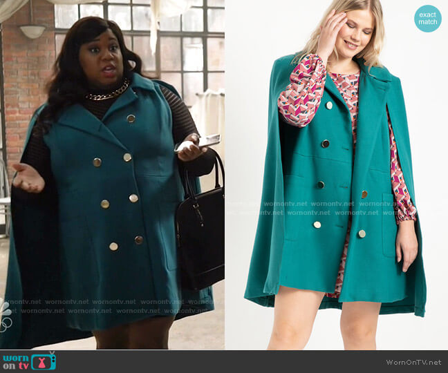Double Breasted Cape Coat by Eloquii worn by Mo (Alex Newell) on Zoeys Extraordinary Playlist
